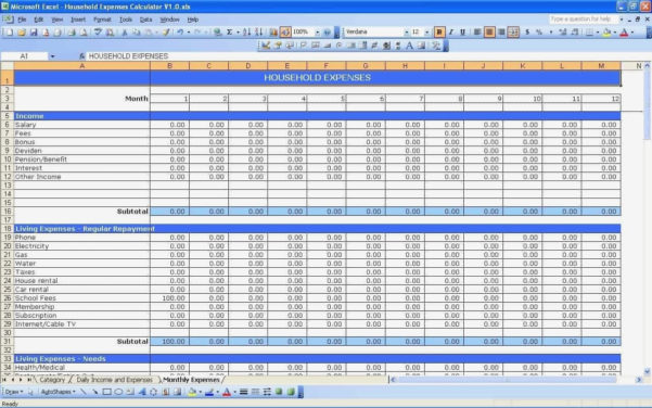 Business Expense Spreadsheet Template Small For Income And Expenses To Spreadsheet Template For Small Business Expenses