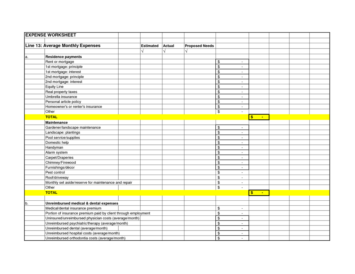 Business Expenses Spreadsheet Sample With Excel Monthly Budget With Free Business Expense Spreadsheet