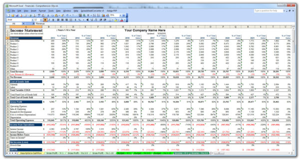 Business Financial Statement Template Excel 2018 Business Plan Within Business Plan Financial Template Excel