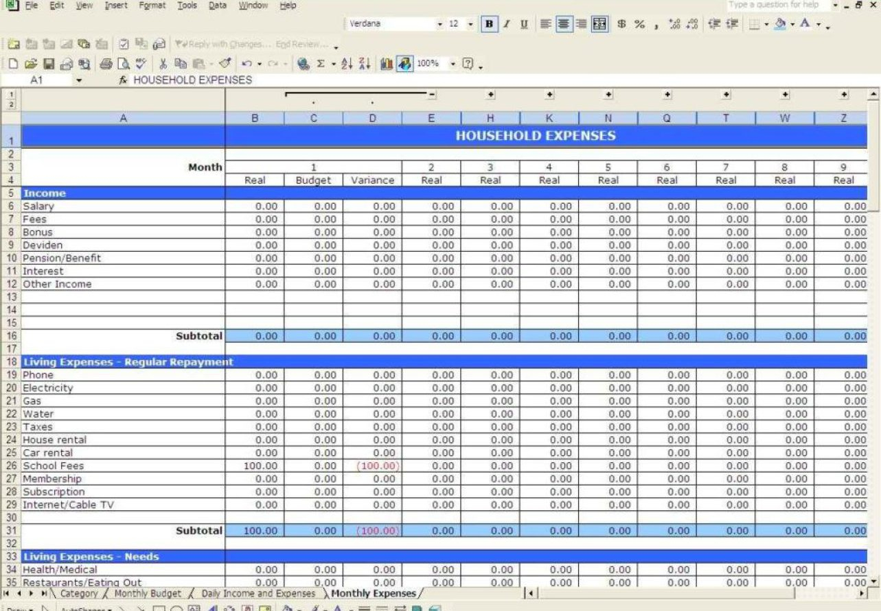 Business Income Small Template Expense And Finance Spreadsheet Print Inside Business Income Worksheet Template