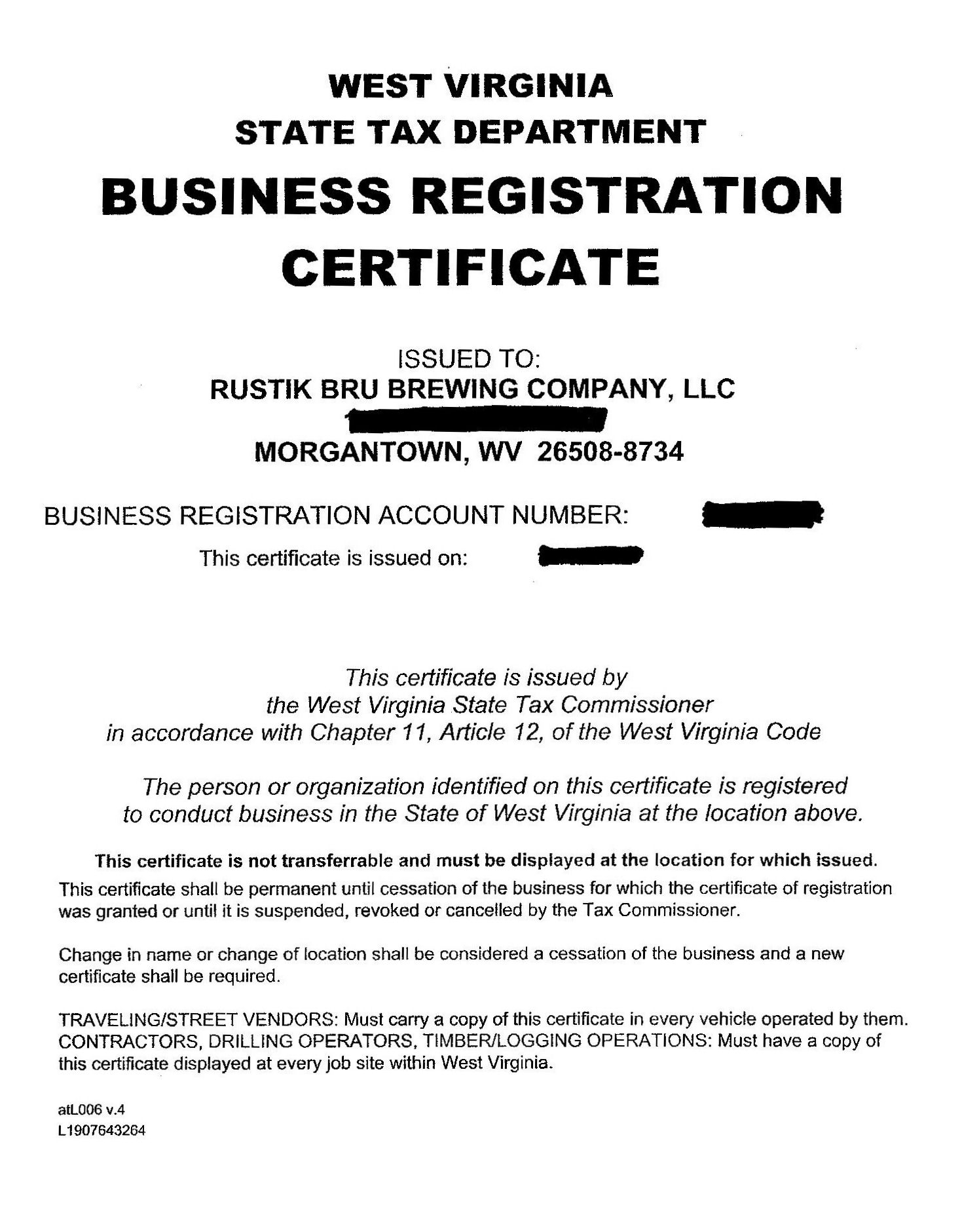 Business License And State Tax | Rustik Brü Blog – A Morgantown, Wv With Business Registration License