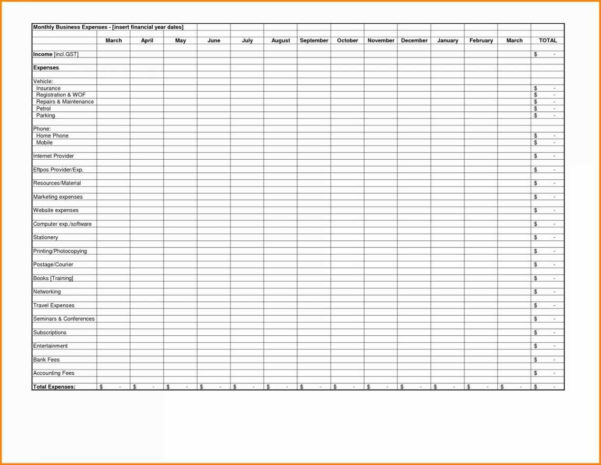 Business Monthly Expenses Spreadsheet For Spreadsheet Free Tracking In Spreadsheet For Household Expenses