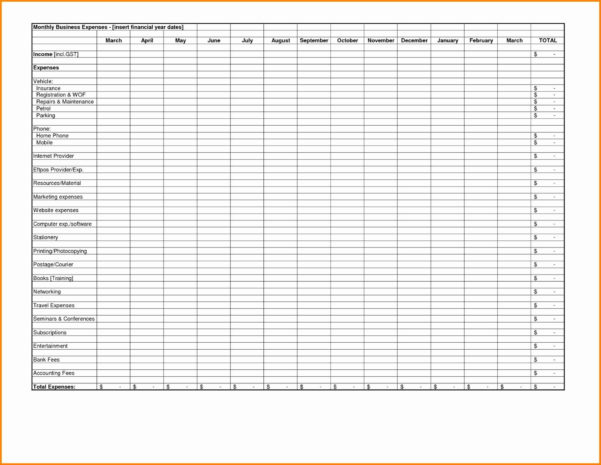 Business Monthly Expenses Spreadsheet For Spreadsheet Free Tracking With Free Monthly Expense Spreadsheet