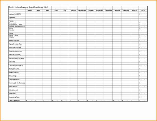 Business Monthly Expenses Spreadsheet For Spreadsheet Free Tracking Within Business Expense Tracking Spreadsheet