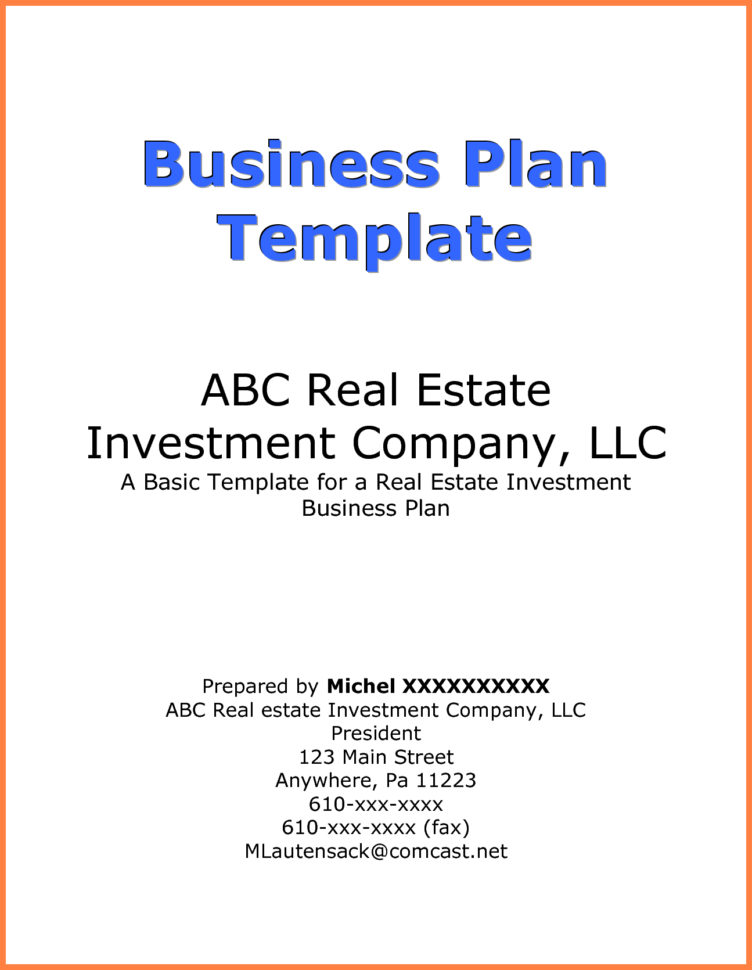 Business Plan Cover Page Example | Business Form Templates For Form Business Plans