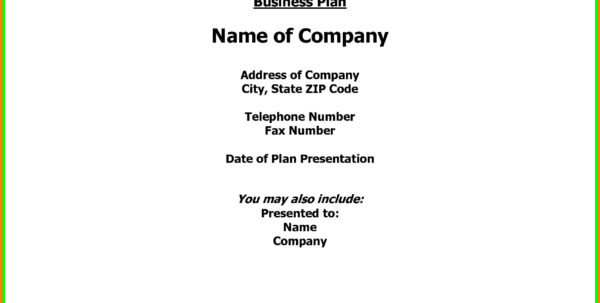 Business Plan Cover Page Sample | Business Form Templates To Business Form Templates