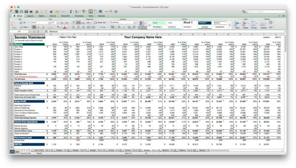 Business Plan Financial Projections Xls   Resourcesaver Throughout Financial Projections Excel Spreadsheet