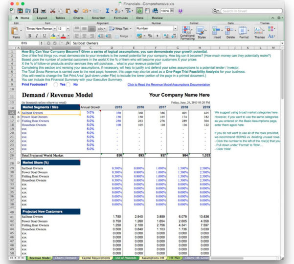 Business Plan Sample Screen Revenue Projection X Best Financial Plan In Business Plan Spreadsheet Template Free