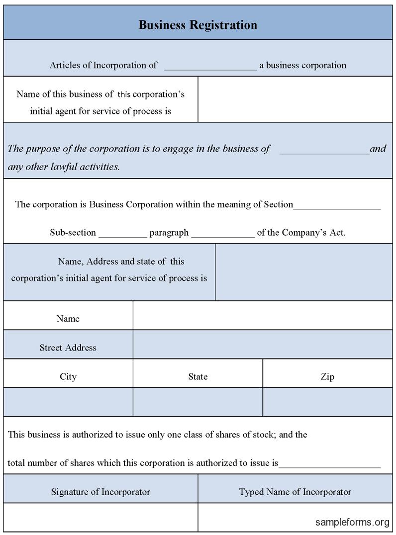 Business Registration Form | Business Form Templates Inside Business Registration Application Form