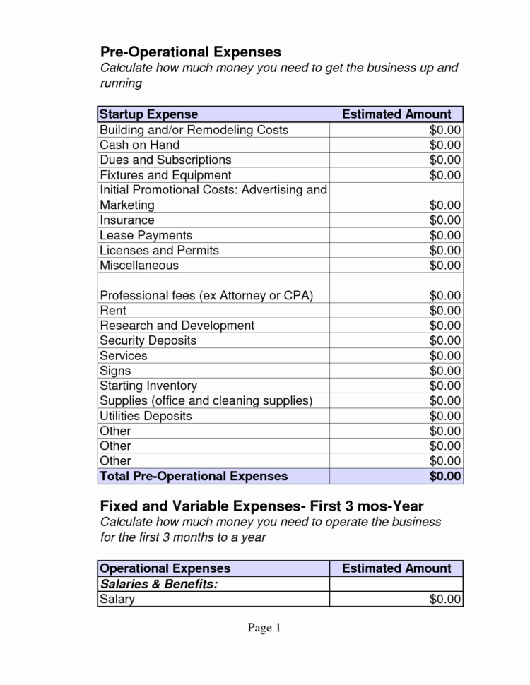 Business Start Up Costs Template Reference Of Startup Business Inside Business Operating Expenses Template