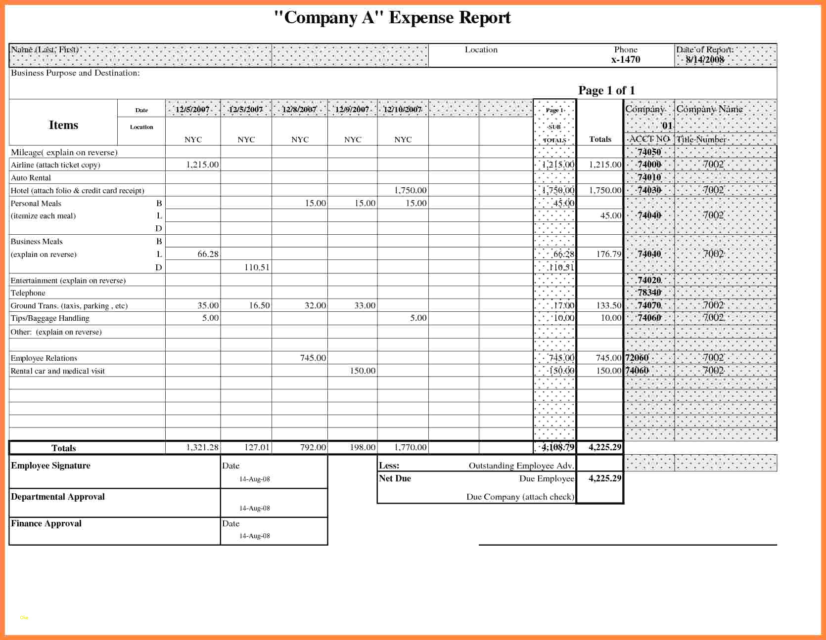 Business Trip Expense Report Template Gallery   Business Cards Ideas Intended For Company Expense Report