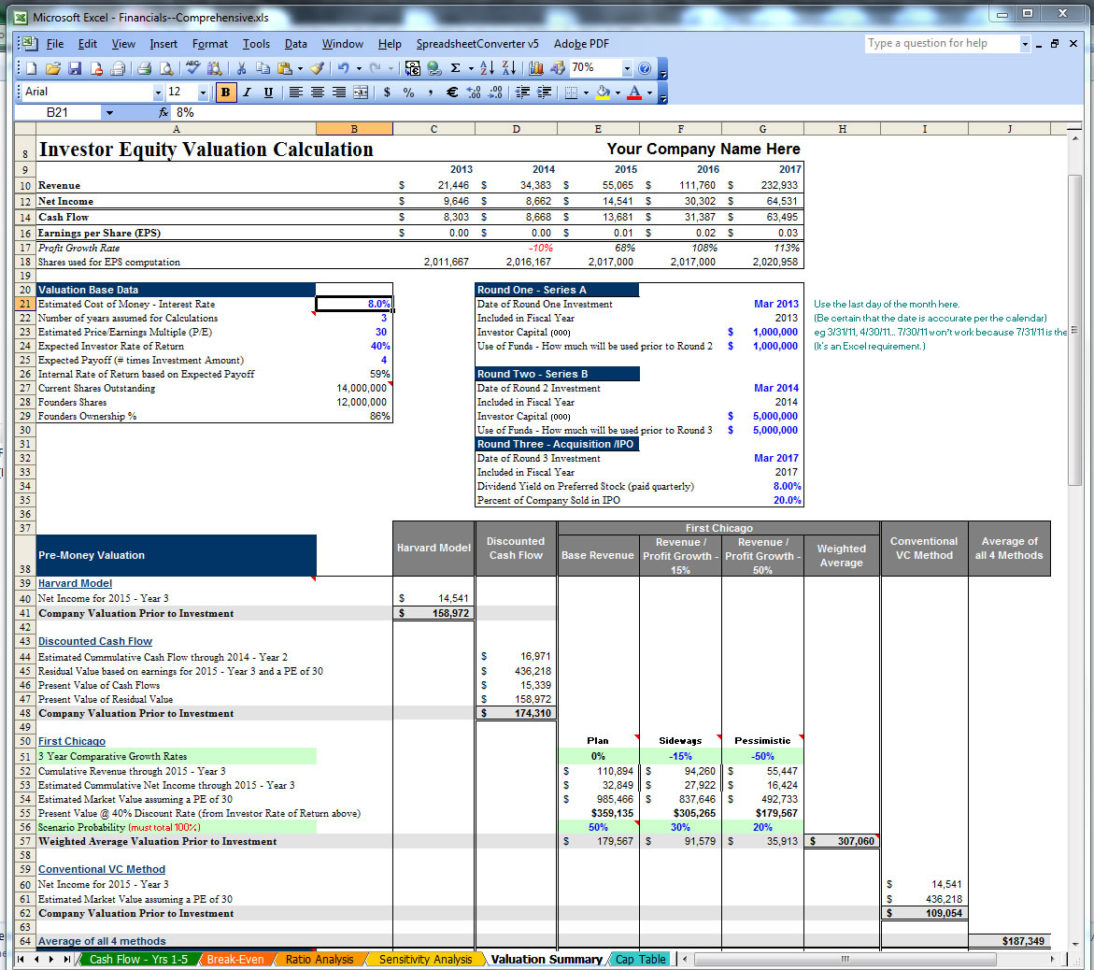 Business Valuation Template Images   Business Cards Ideas Within Business Valuation Spreadsheet