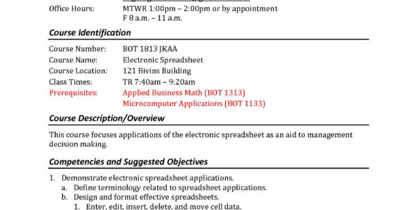 Calaméo   Electronic Spreadsheet Syllabus   Sp11 And Spreadsheet Course
