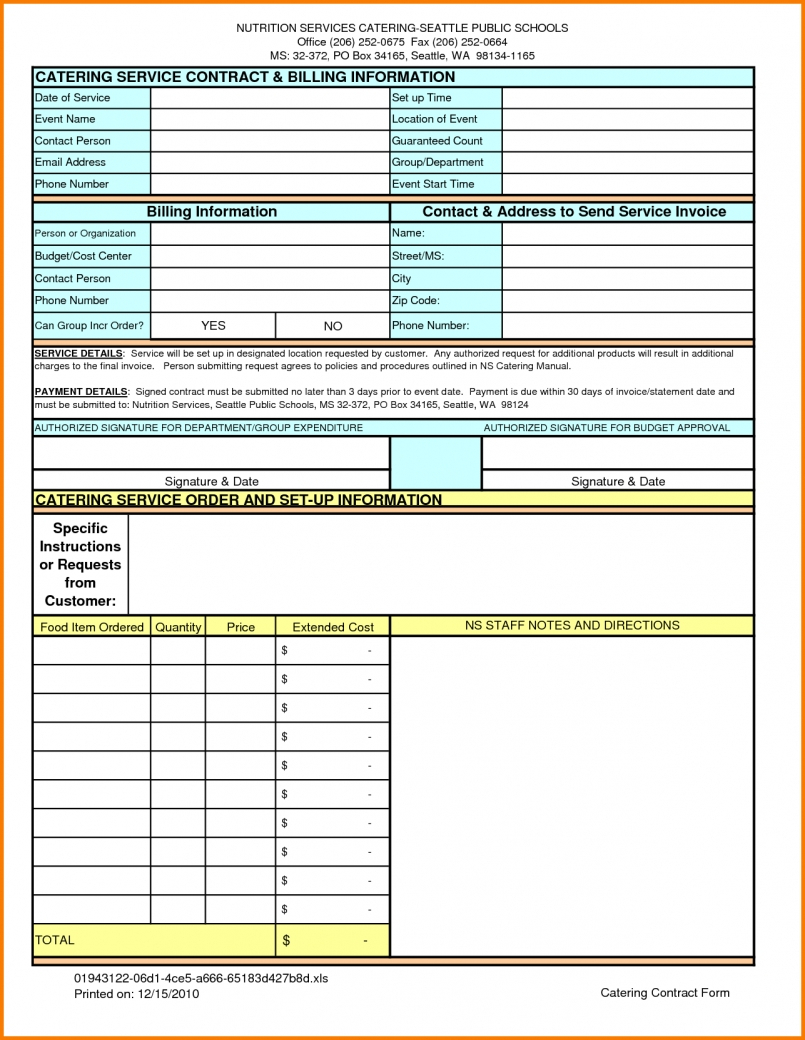 Catering Bill Invoice Template | Papillon Northwan And Catering Service Invoice