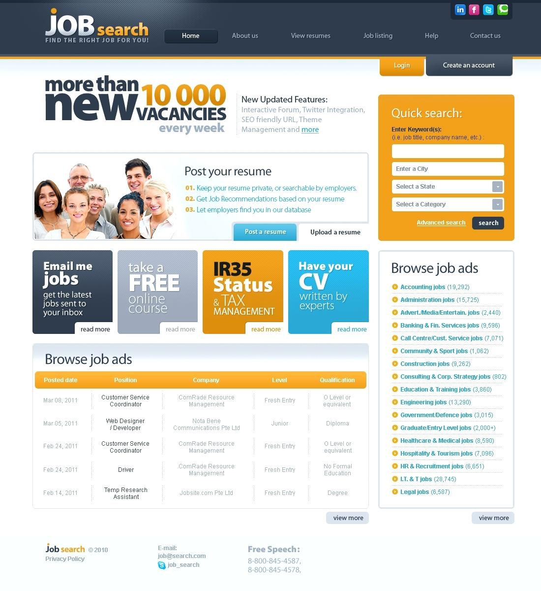 Classic Job Website Template Recruitment Free – Sharkk And Accounting Website Templates Free Download