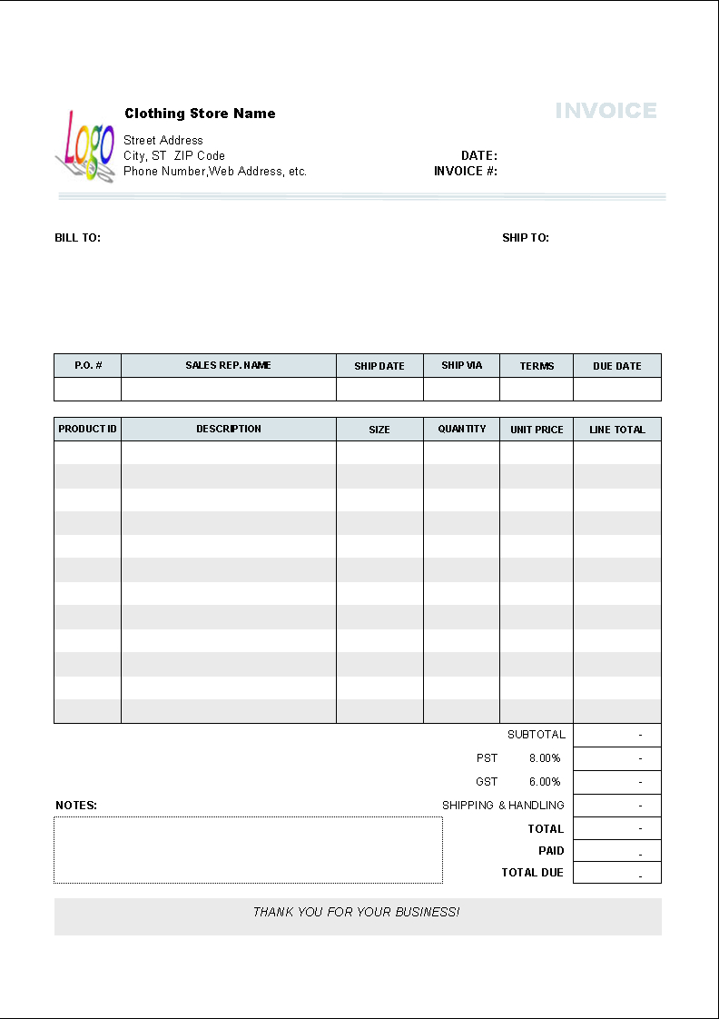 Clothing Store Invoice Template   Uniform Invoice Software With Microsoft Excel Invoice Template