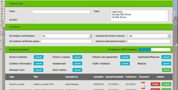 Commercial Driver Compliance Tracking System With Document Tracking System Excel