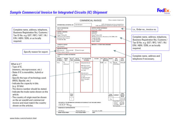 Commercial Invoice Fedex Template 13   Colorium Laboratorium With Fedex Invoice
