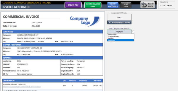 Commercial Invoice Template   Excel Invoice Generator & Tracker Tool Inside Document Tracking System Excel