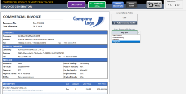 Commercial Invoice Template   Excel Invoice Generator & Tracker Tool With Create Invoices From Excel Spreadsheet
