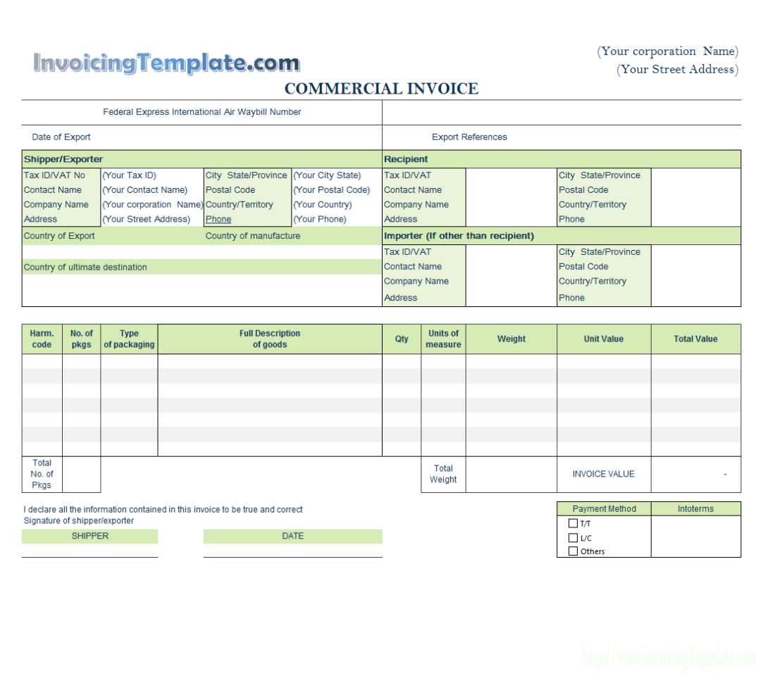 Commercial Invoice Templates   20 Results Found Throughout Payment Invoice Template