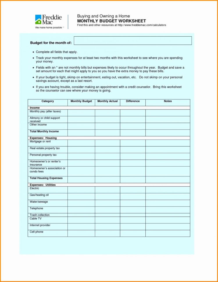Common Worksheets » Home Budget Worksheet   Printable Worksheets For For Free Home Budget Spreadsheet