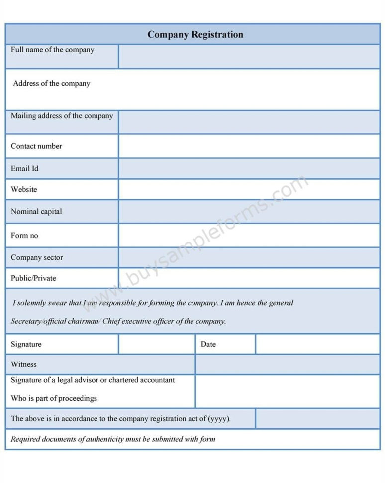 Company Registration Form Template On Behance – Form A Company In To Business Form Templates