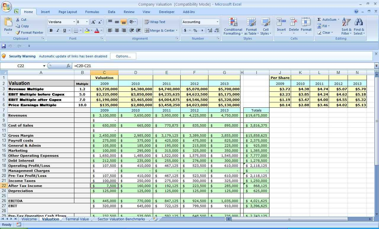 Company Valuation Excel Spreadsheet   Resourcesaver And Business Valuation Spreadsheet