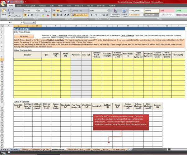 Concrete Quantity Takeoff Excel Spreadsheet | Laobingkaisuo With And Construction Take Off Spreadsheets