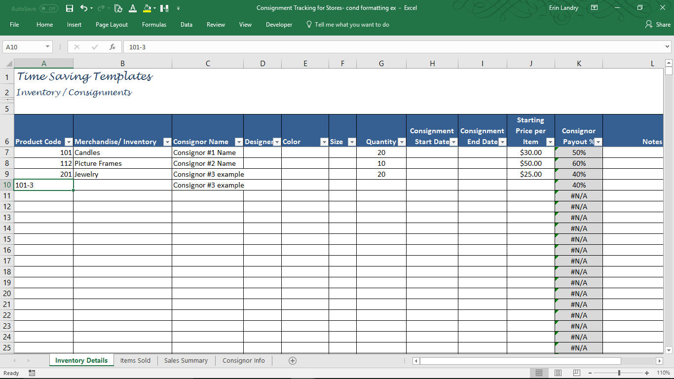 Consignment Tracking For Stores Inventory Tracking | Etsy With Consignment Inventory Tracking Spreadsheet