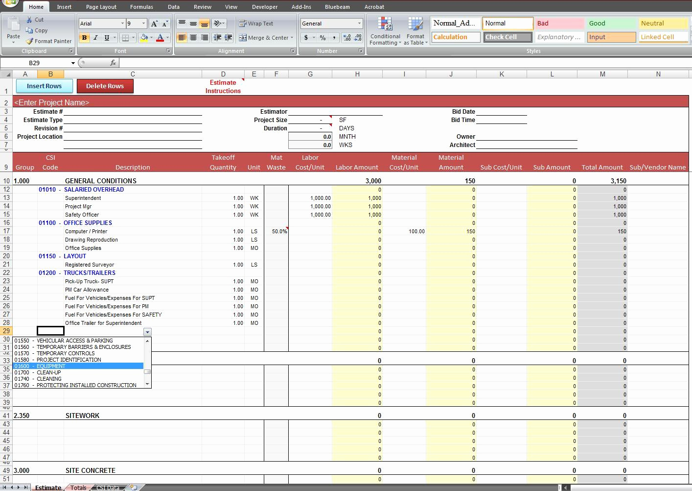 Construction Cost Estimate Template Excel New Construction And Construction Cost Estimate Spreadsheet