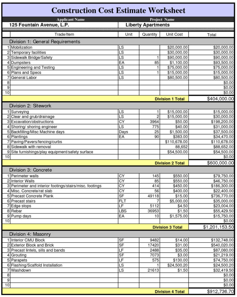 Construction Cost Estimate Worksheet Within Excel Spreadsheet For Construction Estimating