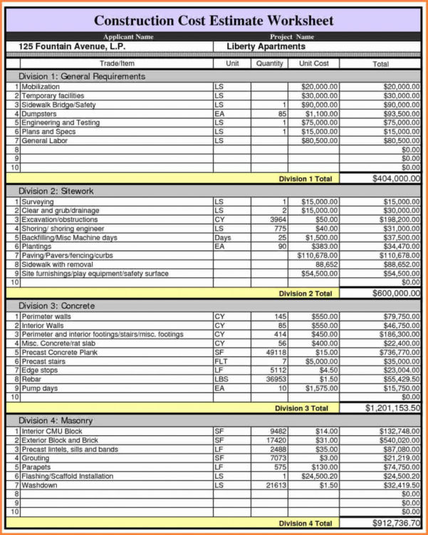 Construction Job Costing Spreadsheet 2018 Budget Spreadsheet Excel For Construction Job Costing Spreadsheet
