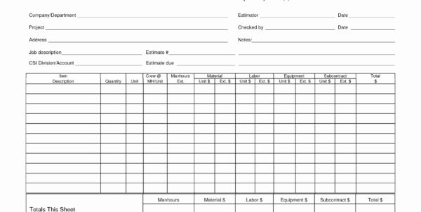 Construction Material Takeoff Excel Template Awesome Quantity Inside Construction Take Off Spreadsheets