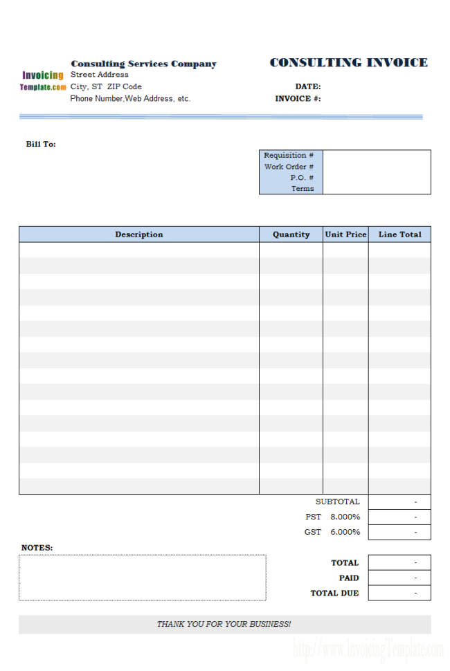 Consulting Invoice Template For Consulting Invoice