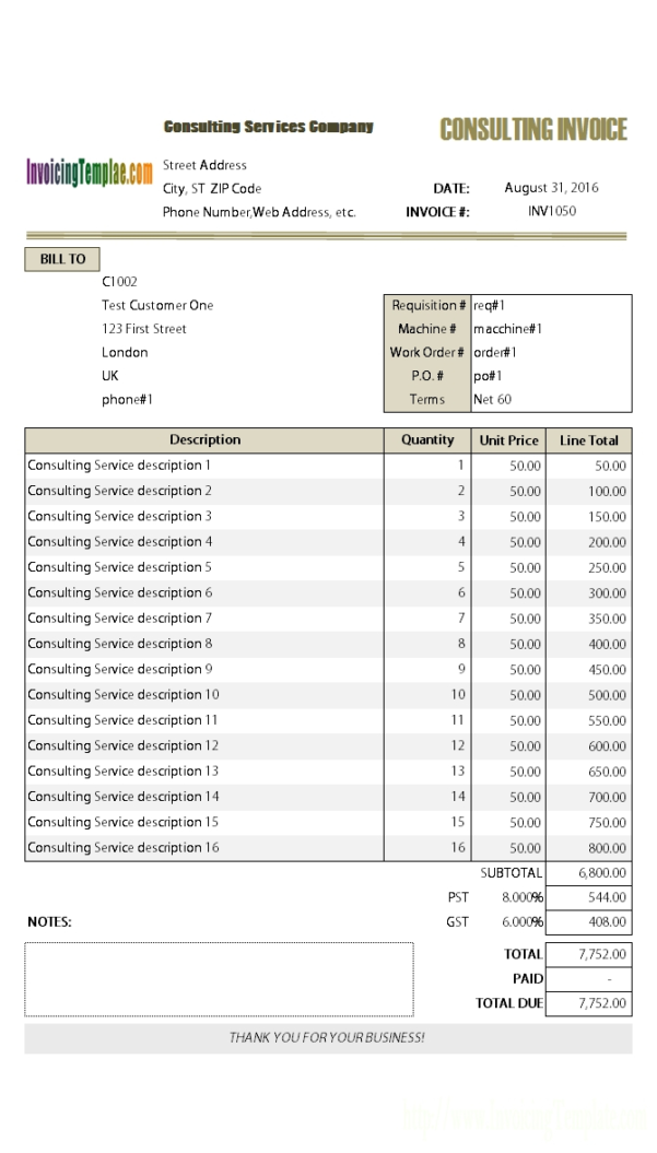 Consulting Invoice Template Invoice Template For A Consultant To Consulting Invoice