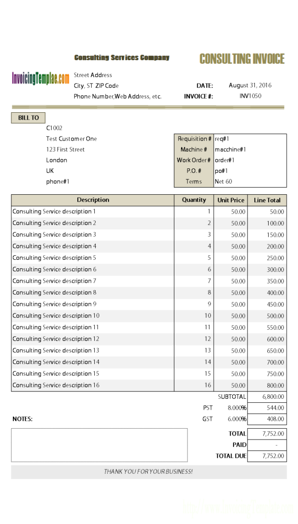 Consulting Invoice Template Microsoft Word Inside Invoice Template Microsoft Word