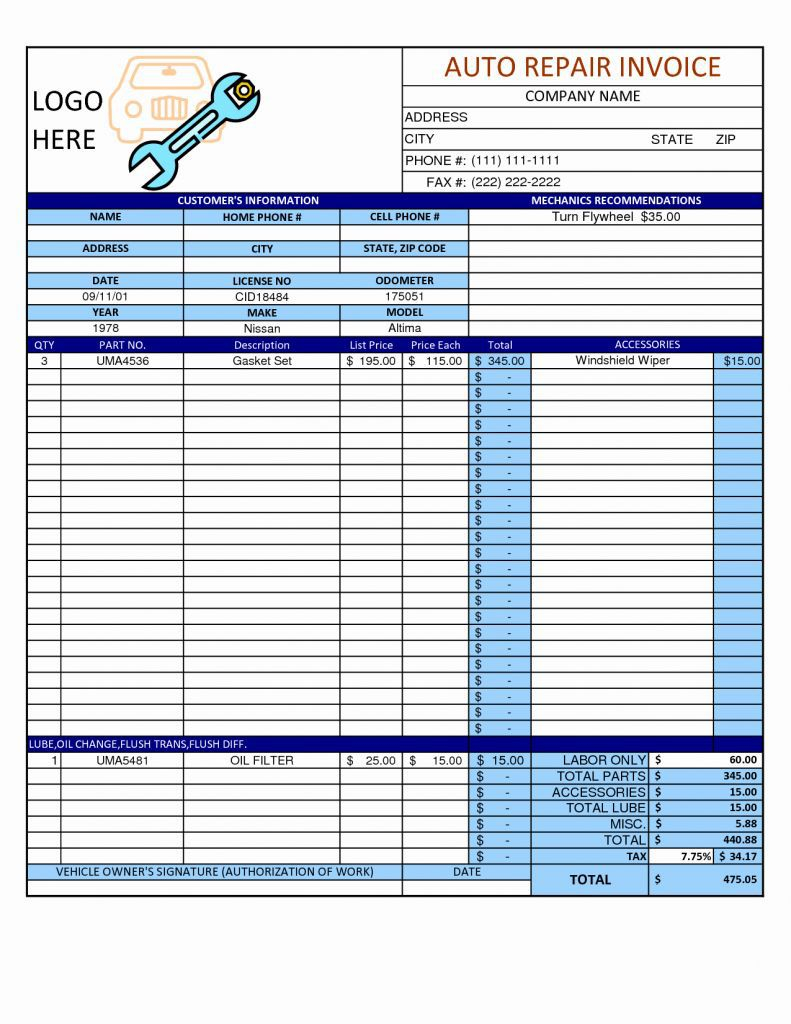 Coupon Spreadsheet App Example Ofalculator For Mechanic Shop Invoice Intended For Coupon Spreadsheet App