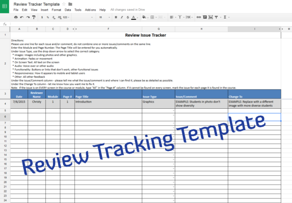Course Review Tracking Template – Experiencing E Learning Throughout Spreadsheet Course