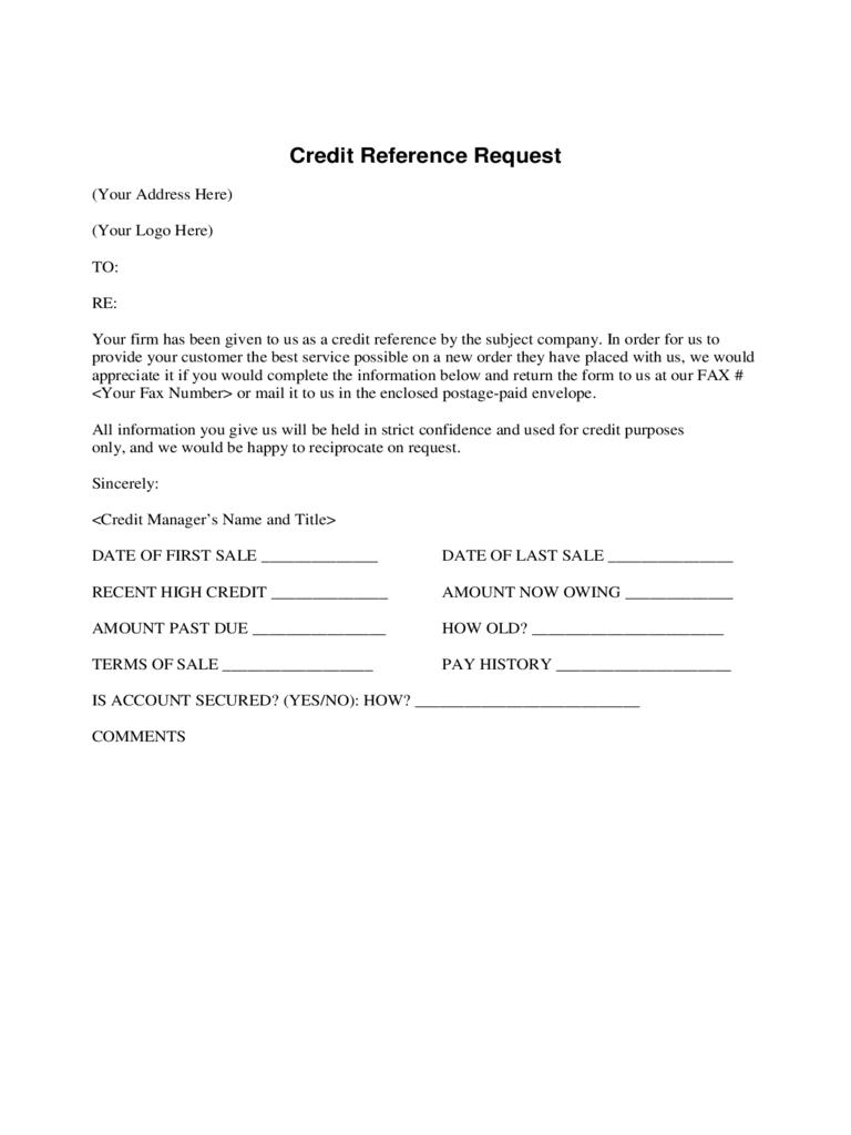 Credit Reference Form | Bravebtr Inside Business Credit Reference Form