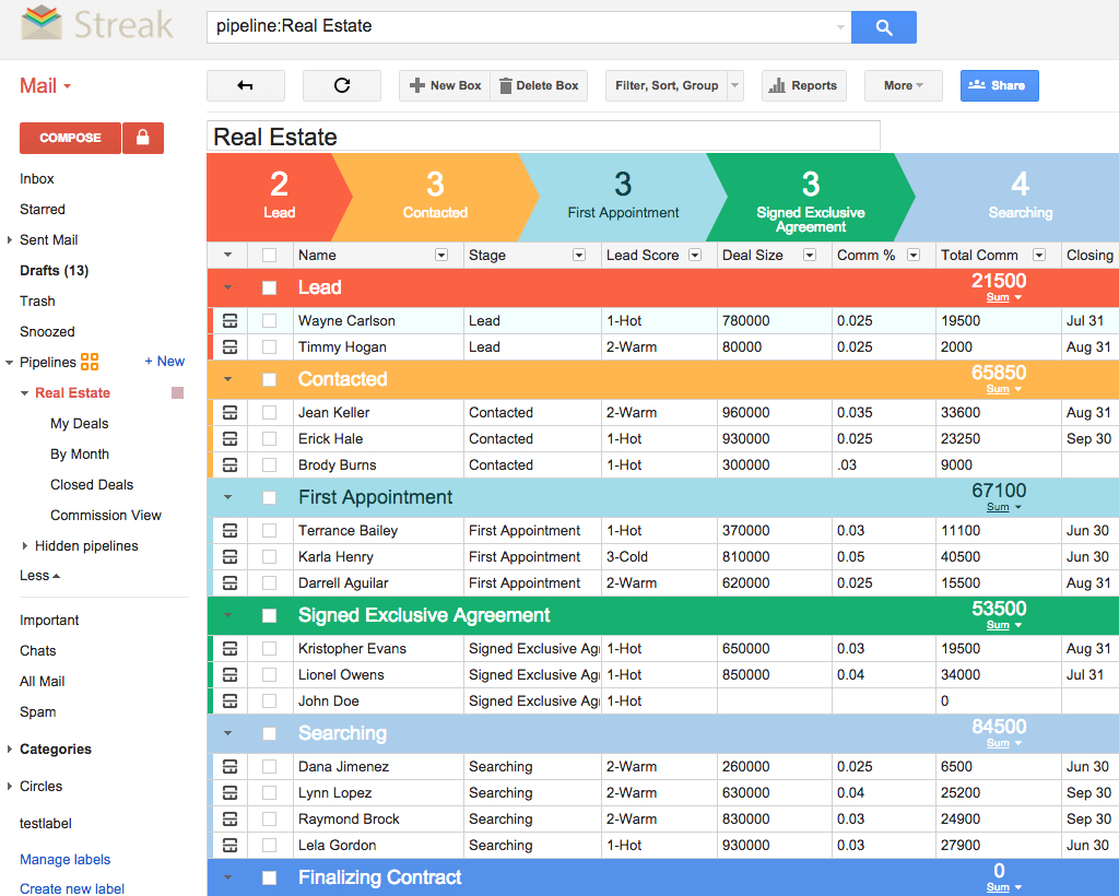 Crm For Real Estate | Streak   Crm For Gmail Throughout Real Estate Lead Tracking Spreadsheet
