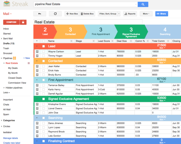 Crm For Real Estate | Streak   Crm For Gmail With Sales Commission Tracking Spreadsheet