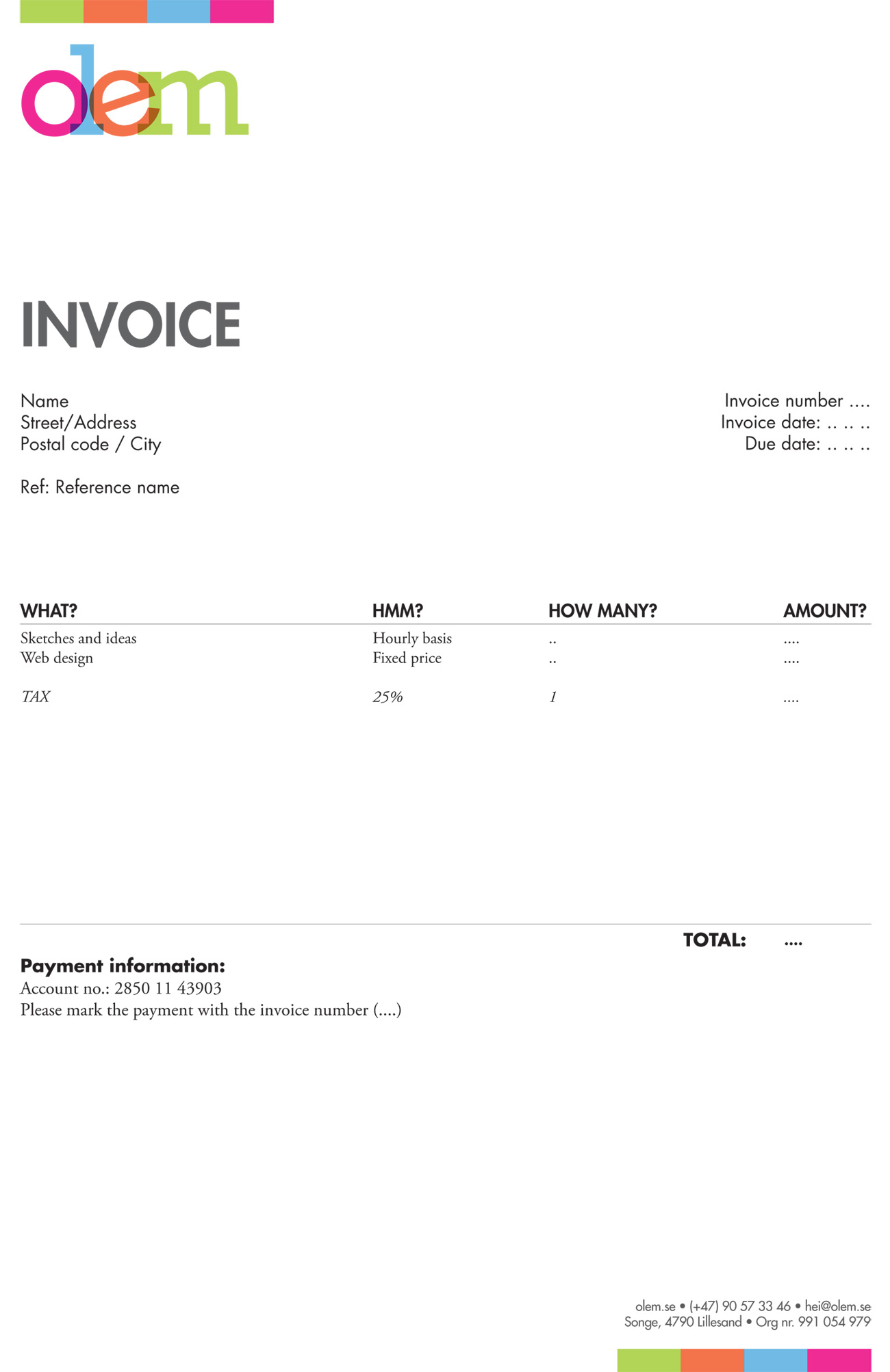 Design Invoice Templates – Batayneh In Artist Invoice Samples