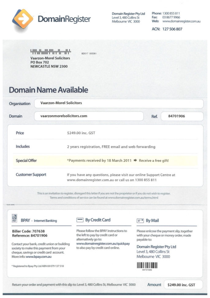Domain Name Holders Beware Of Misleading Invitations To Renew   Myrtec Intended For Domain Name Invoice
