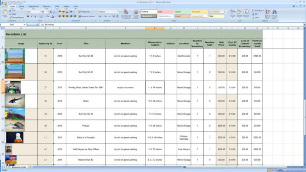 Doug Steward Fine Art Business Day Creating Inventory Spreadsheet For How To Create An Inventory Spreadsheet