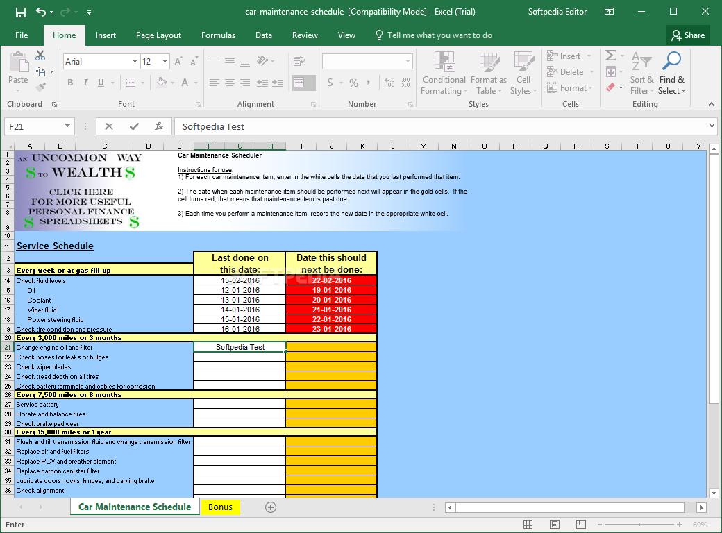 Download Car Maintenance Schedule Spreadsheet In Auto Maintenance Schedule Spreadsheet