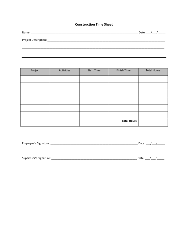Download Construction Timesheet Template | Excel | Pdf | Rtf | Word Intended For Employee Timesheet Template