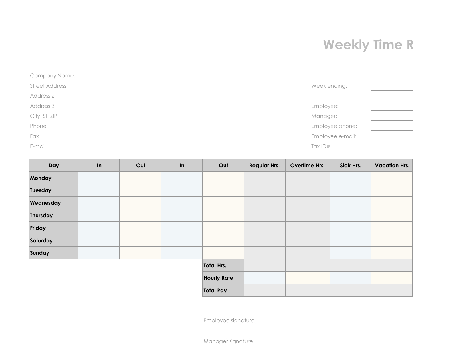 Download Employee Timesheet Template | Excel | Pdf | Rtf | Word Inside Employee Timesheet Template