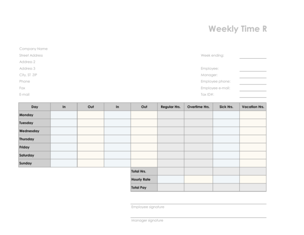 Download Employee Timesheet Template | Excel | Pdf | Rtf | Word With Payroll Timesheet Template