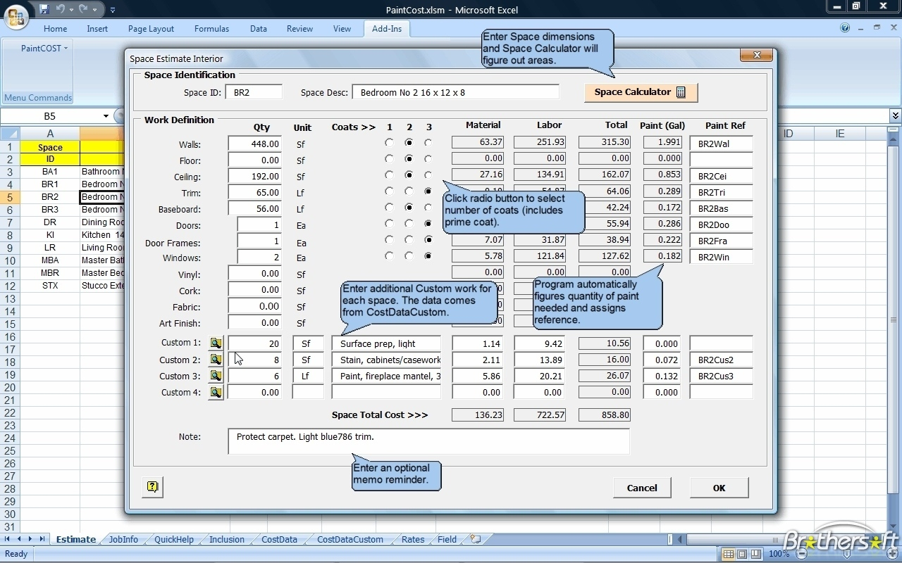 Download Free Paintcost Estimator For Excel, Paintcost Estimator For Inside Free Spreadsheets For Windows